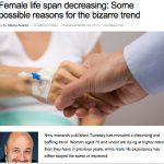 女性の寿命が短くなりつつある理由とは、海外ニュース、健康
