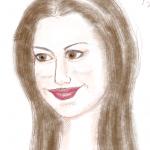 毎日描け、女性顔、アン・ハサウェイの似顔絵のつもり
