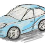 毎日描け、猫座りイラスト、車イラスト斜め上方向|MSペイントでかっこいい車を描くユーチューブ動画、絵は道具(ソフト)で描くものではない|zenbackを外した