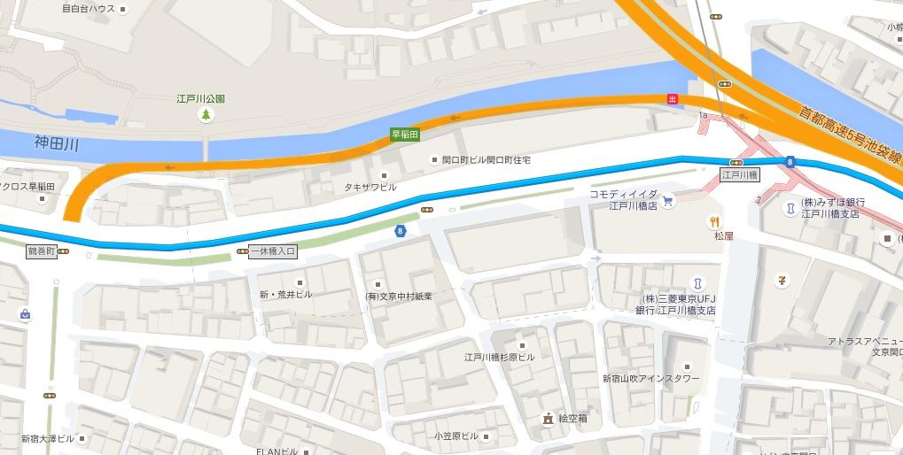 6小作駅_神田川沿いで江戸川橋へそのまま