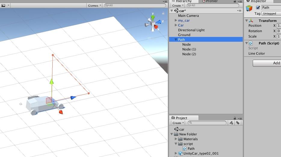 Unity カーレースゲーム開発、勉強中 パスの表示 ピクチャブログ