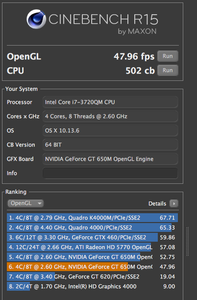 CINEBENCH2012年モデルMacBookProCorei7_2.6GHz